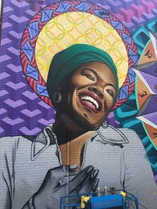 Colorful mural of the legendary Dr. Maya Angelou