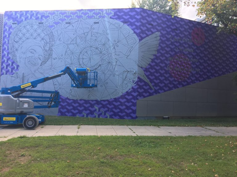 The coloring process for the Maya Angelou mural
